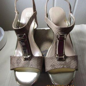 Anne Klein Snakeskin Akedlynn Wedge heels 7 1/2M